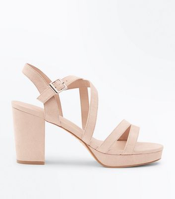 Nude Suedette Strappy Block Heel Sandals