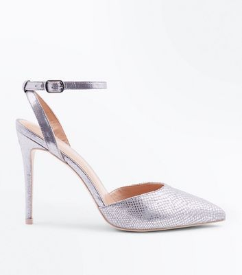 Silver Faux Snakeskin Two Part Pointed Heels