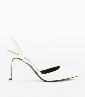 White Strap Back Pointed Courts by New Look