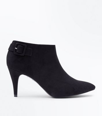 Black Suedette Buckle Back Shoe Boots