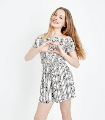 Teens Off White Geometric Print Playsuit