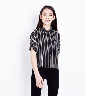 Teens Black Stripe Short Sleeve Shirt