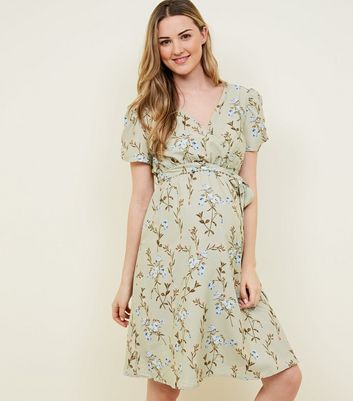 Maternity Light Green Floral Wrap Front Dress