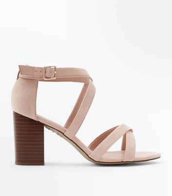 Wide Fit Nude Suedette Strappy Wood Heels