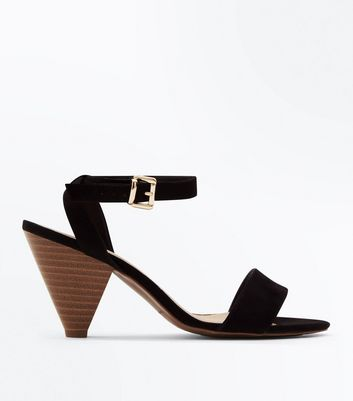 Wide Fit Black Suedette Wood Cone Heel Sandals