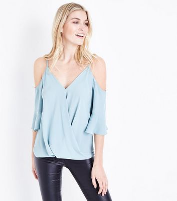 Pale Blue Cold Shoulder Wrap Front Top