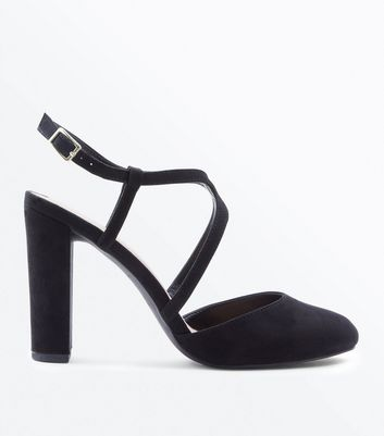 Wide Fit Black Suedette Round Toe Block Heels