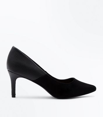 Wide Fit Black Suedette and Faux Croc Courts