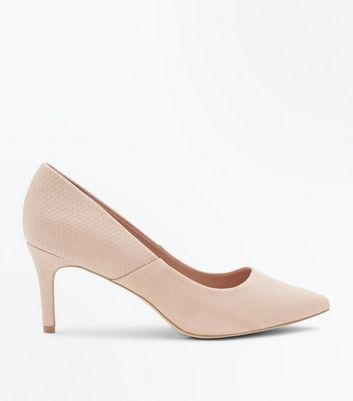 Wide Fit Nude Suedette and Faux Croc Courts
