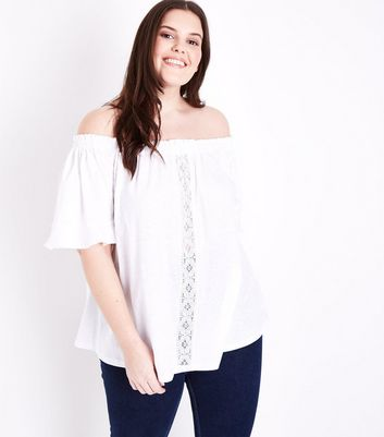 Curves White Lace Panel Bardot Neck Top