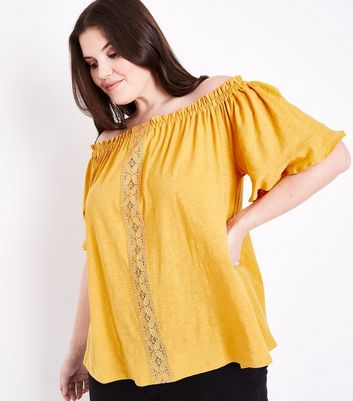 Curves Mustard  Lace Panel Bardot Neck Top