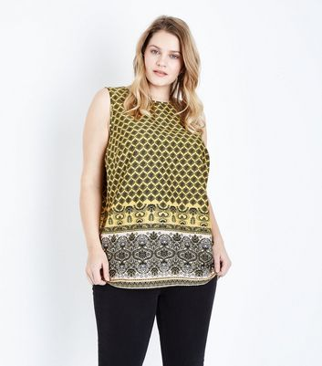Curves Yellow Tile Print Sleeveless Top