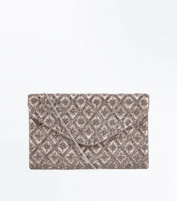 Pale Pink Bead Embellished Clutch Bag