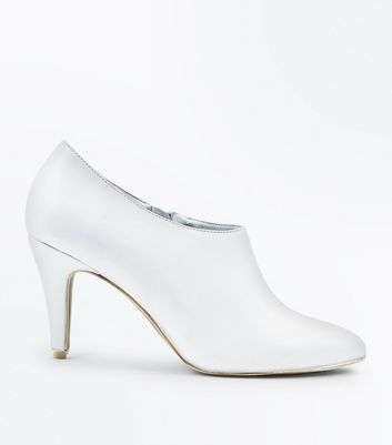 Wide Fit White Leather Look Court Shoes
