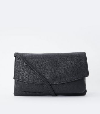 Black Foldover Double Pocket Cross Body Bag