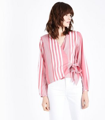 Pink Stripe Tie Side Wrap Top
