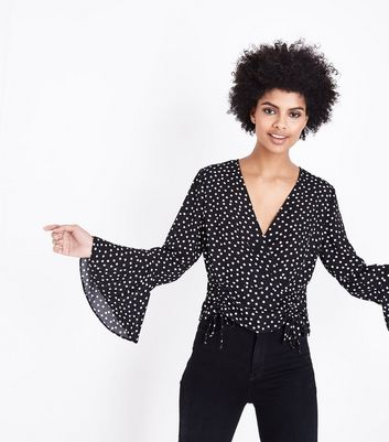 Black Spot Print Bell Sleeve Ruched Wrap Top