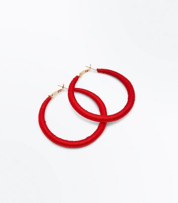 Red Textured Hoop Earrings
