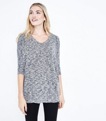 Pale Grey Fine Knit Scoop Neck Top