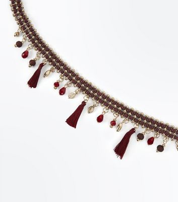 Burgundy Tassel and Bead Choker Necklace