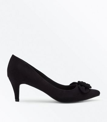 Black Comfort Flex Suedette Buckle Toe Courts