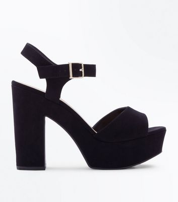Wide Fit Black Suedette Two Part Platform Heels