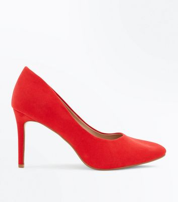 Wide Fit Red Suedette Almond Toe Courts
