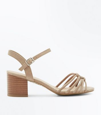 Wide Fit Brown Suedette Knot Front Block Heel Sandals