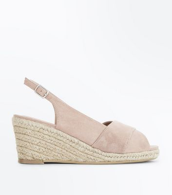 Wide Fit Nude Espadrille Peep Toe Wedges by New Look