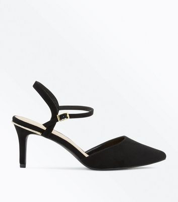 Wide Fit Black Diamante Trim Pointed Heels