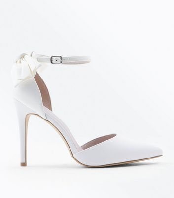 Wide Fit Off White Satin Bow Back Wedding Shoes