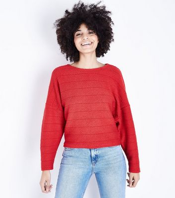 Red Stripe Fine Knit Batwing Sleeve Top