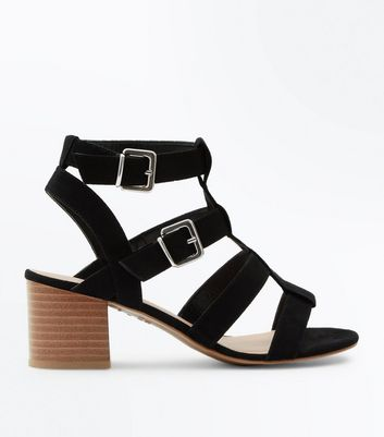 Wide Fit Black Suedette Gladiator Heeled Sandals