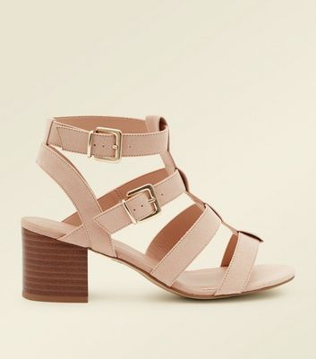 Wide Fit Nude Suedette Gladiator Heeled Sandals