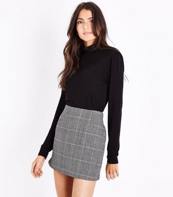 Cameo Rose Grey Prince of Wales Check Mini Skirt