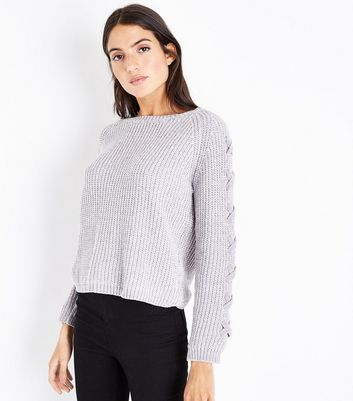 Cameo Rose Grey Chenille Lace Up Sleeve Jumper