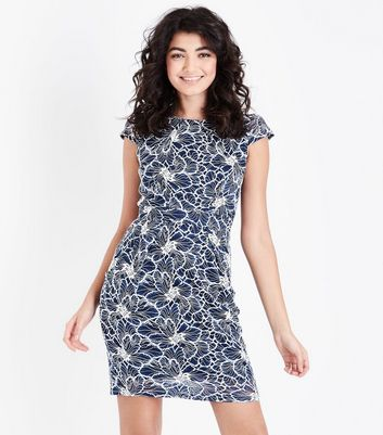 Blue Vanilla Navy Lace Floral Dress