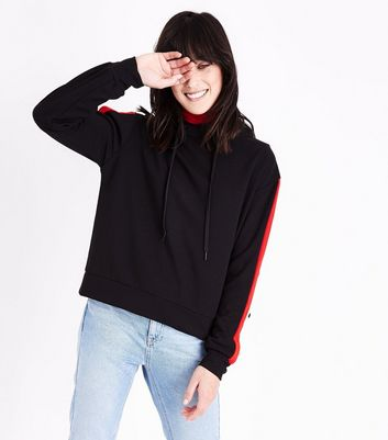 Cameo Rose Red Stripe Popper Side Hoodie