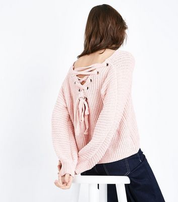 Cameo Rose Shell Pink Lattice Back Chenille Jumper