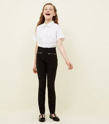 Girls Black Zip Pocket School Trousers