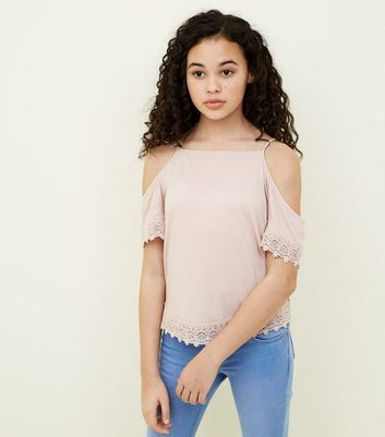 Teens Pale Pink Crochet Trim Top