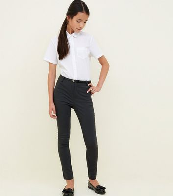 Girls Grey Belted Slim Leg Trousers