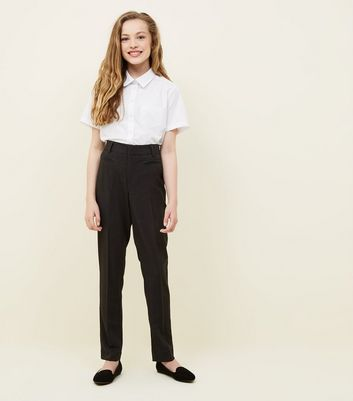 Girls Grey Leather-Look Trim School Trousers