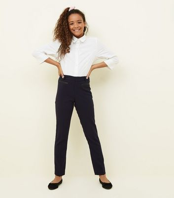Girls Navy Leather-Look Pocket Trim Trousers