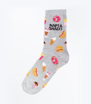 Grey Naps and Snacks Patterned Socks