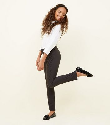 Girls Grey Tapered Stretch Trousers