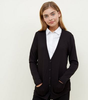 Teens Black Fine Knit Cardigan