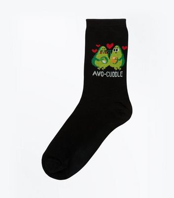 Black Avocado Slogan Socks
