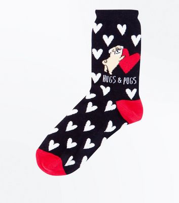 Black Hugs and Pugs Glitter Socks