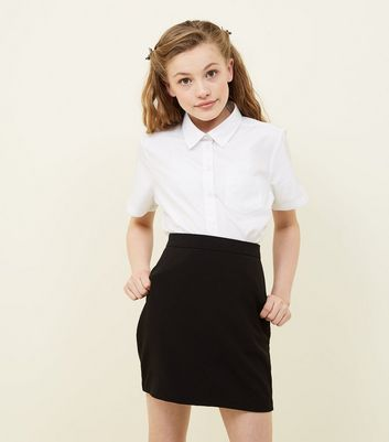 Girls Black Elasticated Waist Skirt